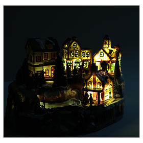 Animated Christmas village with train 35x25x20 cm s6