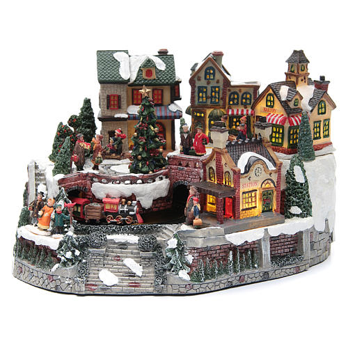 Animated Christmas village with train 35x25x20 cm 1
