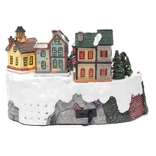 Animated Christmas village with train 35x25x20 cm 4