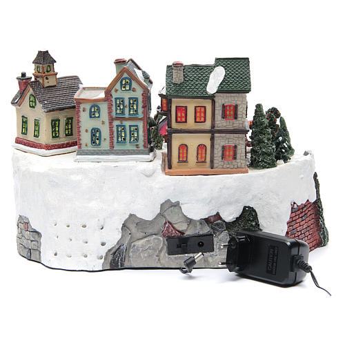 Animated Christmas village with train 35x25x20 cm 5