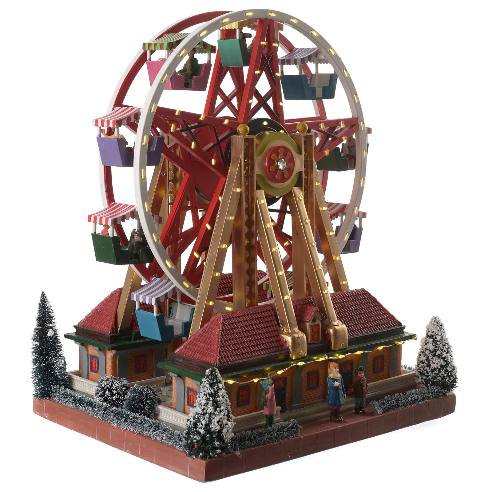 Weihnachtsszene Karussell mit Musik 30x25x30cm 3