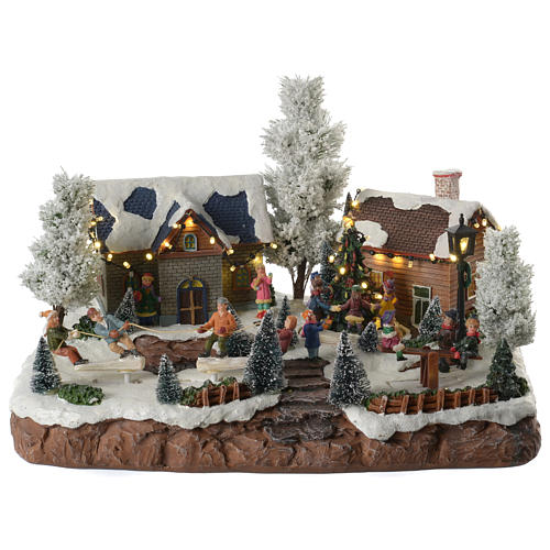 Winter village with music and playground 35x25x25 cm 1