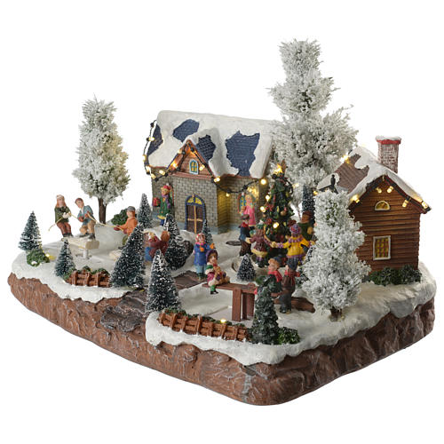 Winter village with music and playground 35x25x25 cm 2