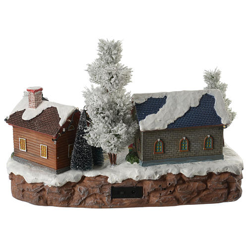 Winter village with music and playground 35x25x25 cm 4