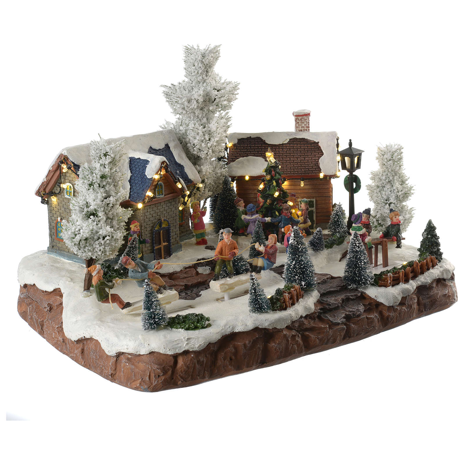 Winter village with music and playground 35x25x25 cm 3