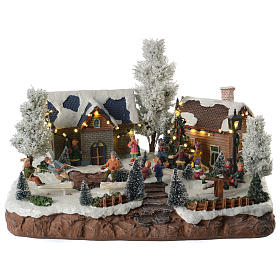 Winter village with music and playground 35x25x25 cm s1