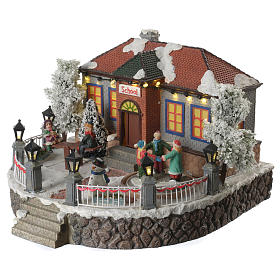 Winter village school with music and playground 25x25x15 cm s3