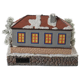 Winter village school with music and playground 25x25x15 cm s4