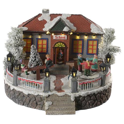 Winter village school with music and playground 25x25x15 cm 1
