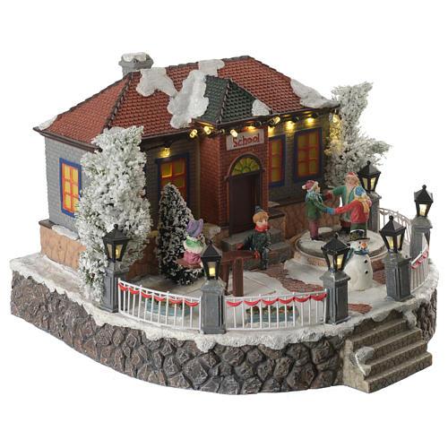 Winter village school with music and playground 25x25x15 cm 2