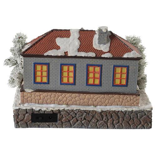Winter village school with music and playground 25x25x15 cm 4