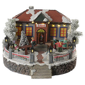 Winter village school with music and playground 25x25x15 cm s1
