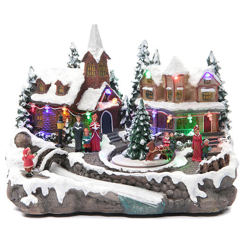 Christmas village with lights and movement 30x15x20 cm 1