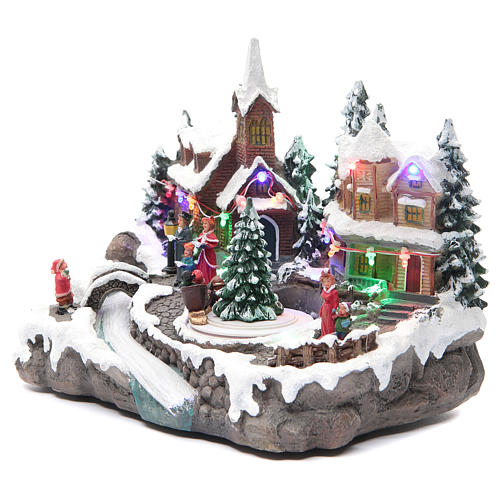 Christmas village with lights and movement 30x15x20 cm 2