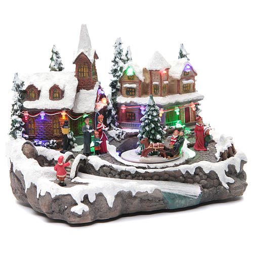 Christmas village with lights and movement 30x15x20 cm 3