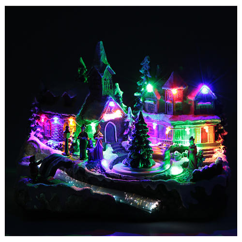 Christmas village with lights and movement 30x15x20 cm 5