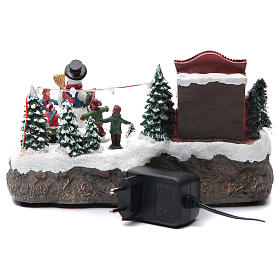 Christmas village with Ring a Ring-o' roses game and snowman  25x15x15 cm s4