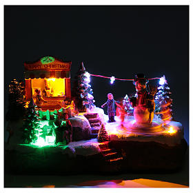 Christmas village with Ring a Ring-o' roses game and snowman  25x15x15 cm s5