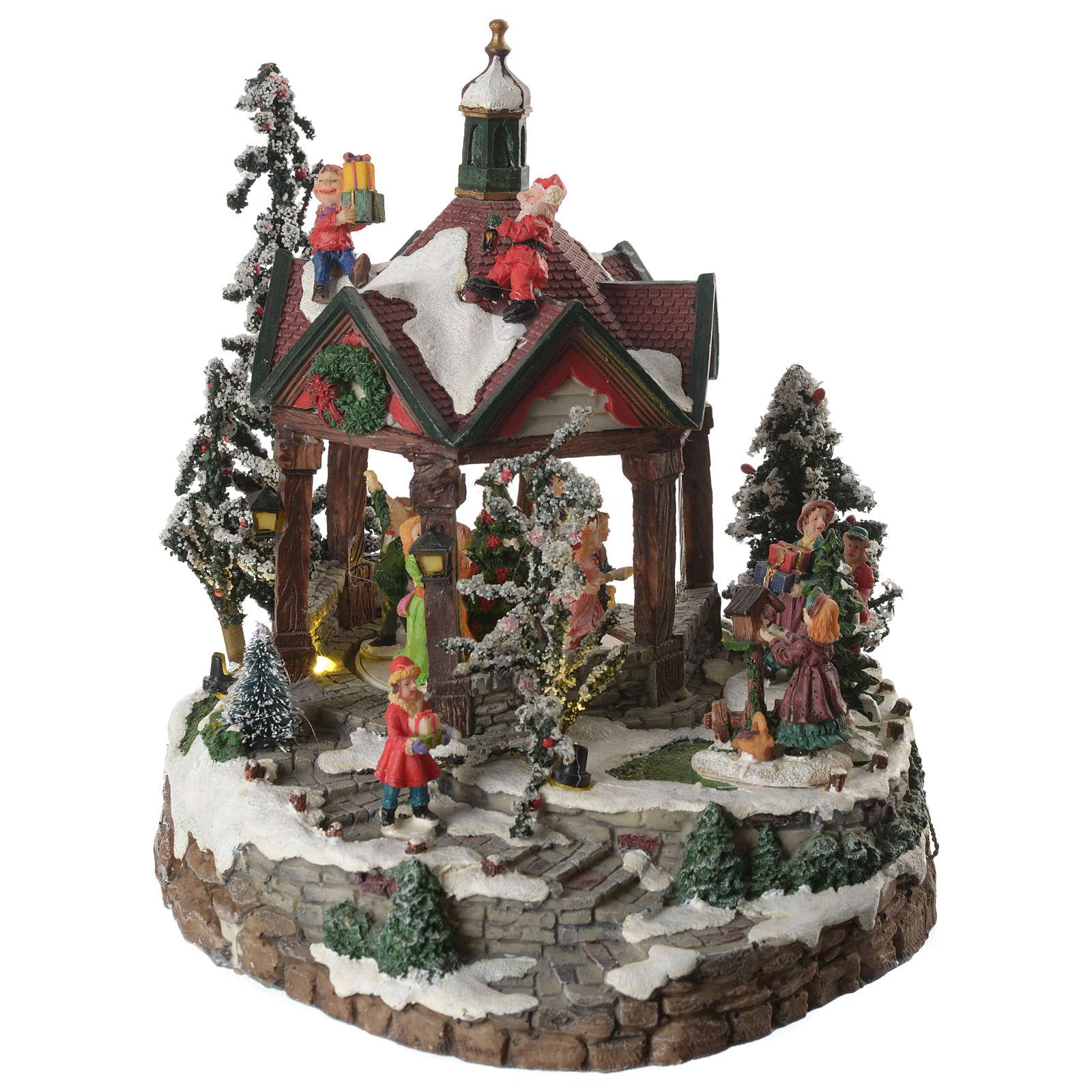 Weihnachtsszenen Tanzplatz mit Musik 25cm 3