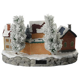 Pueblo Navideño en miniatura invernal con trenecito en movimiento s4