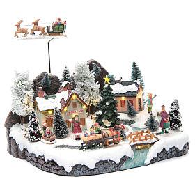 Weihnachtsszene Schlitte mit Weihnachtsmann 30x25x25cm s3