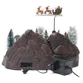 Weihnachtsszene Schlitte mit Weihnachtsmann 30x25x25cm s4