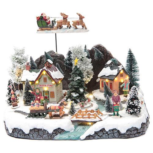Weihnachtsszene Schlitte mit Weihnachtsmann 30x25x25cm 1
