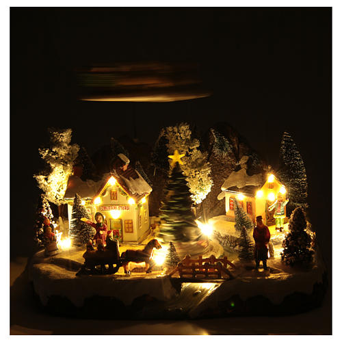 Winter village with Father Christmas's sleigh 30x25x25 cm 5
