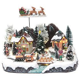 Cenários Natalinos em Miniatura: Paisagem invernal aldeia e trenó de Pai Natal 30x25x25 cm