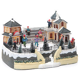 ice skaters for Christmas village 20x20x20 cm with lights and music s3
