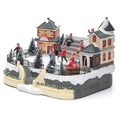 ice skaters for Christmas village 20x20x20 cm with lights and music 2