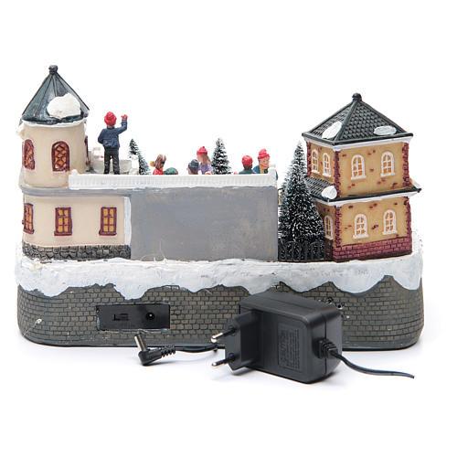 Pattinatori villaggio natalizio 20x20x20 luci, musica 4