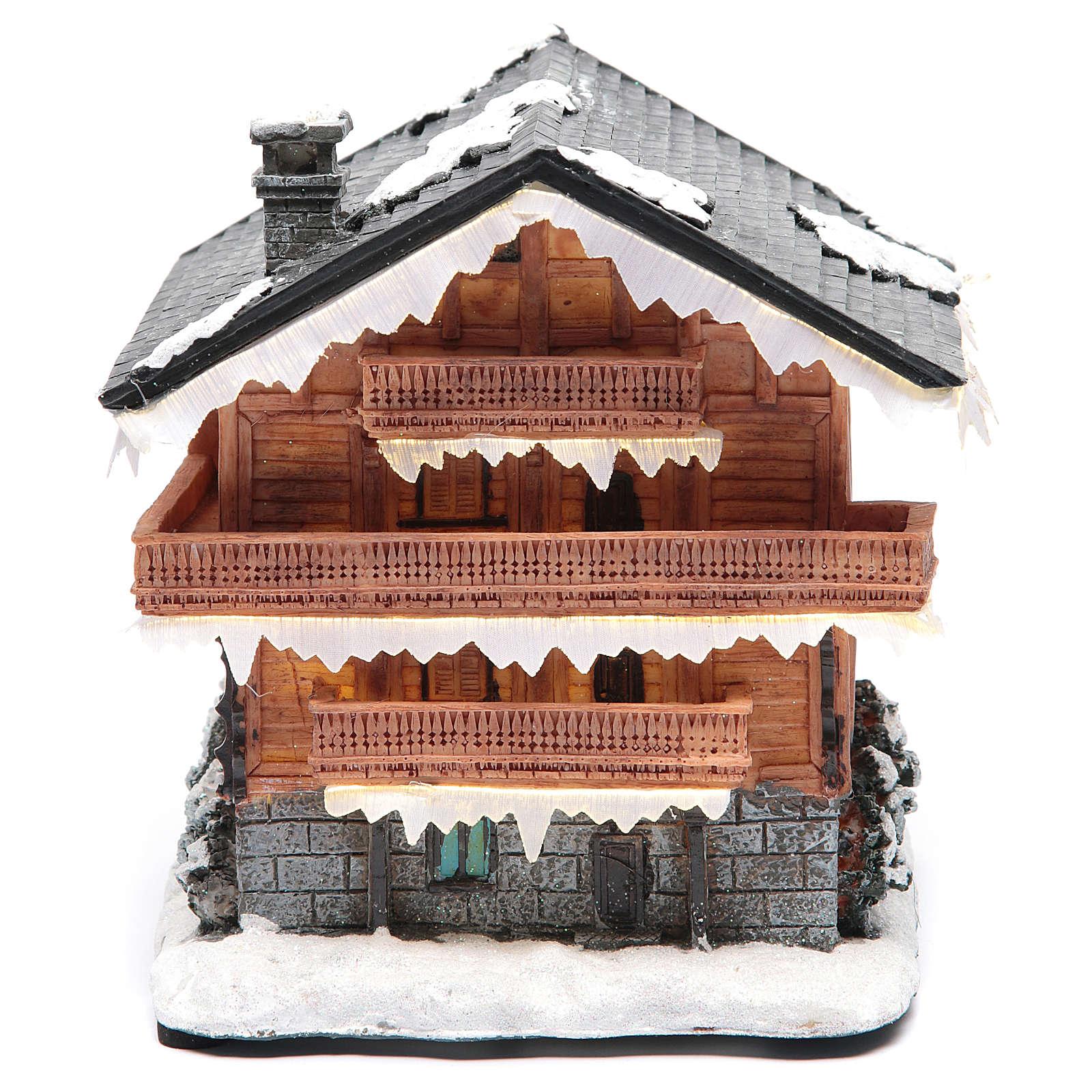 Chalet villaggio natalizio 20x20x20 cm 3