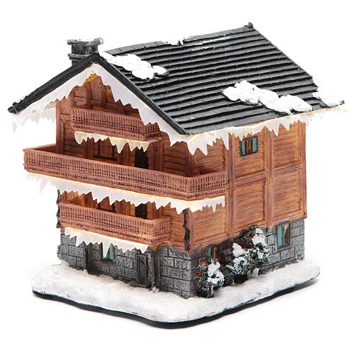 Chalet villaggio natalizio 20x20x20 cm 2