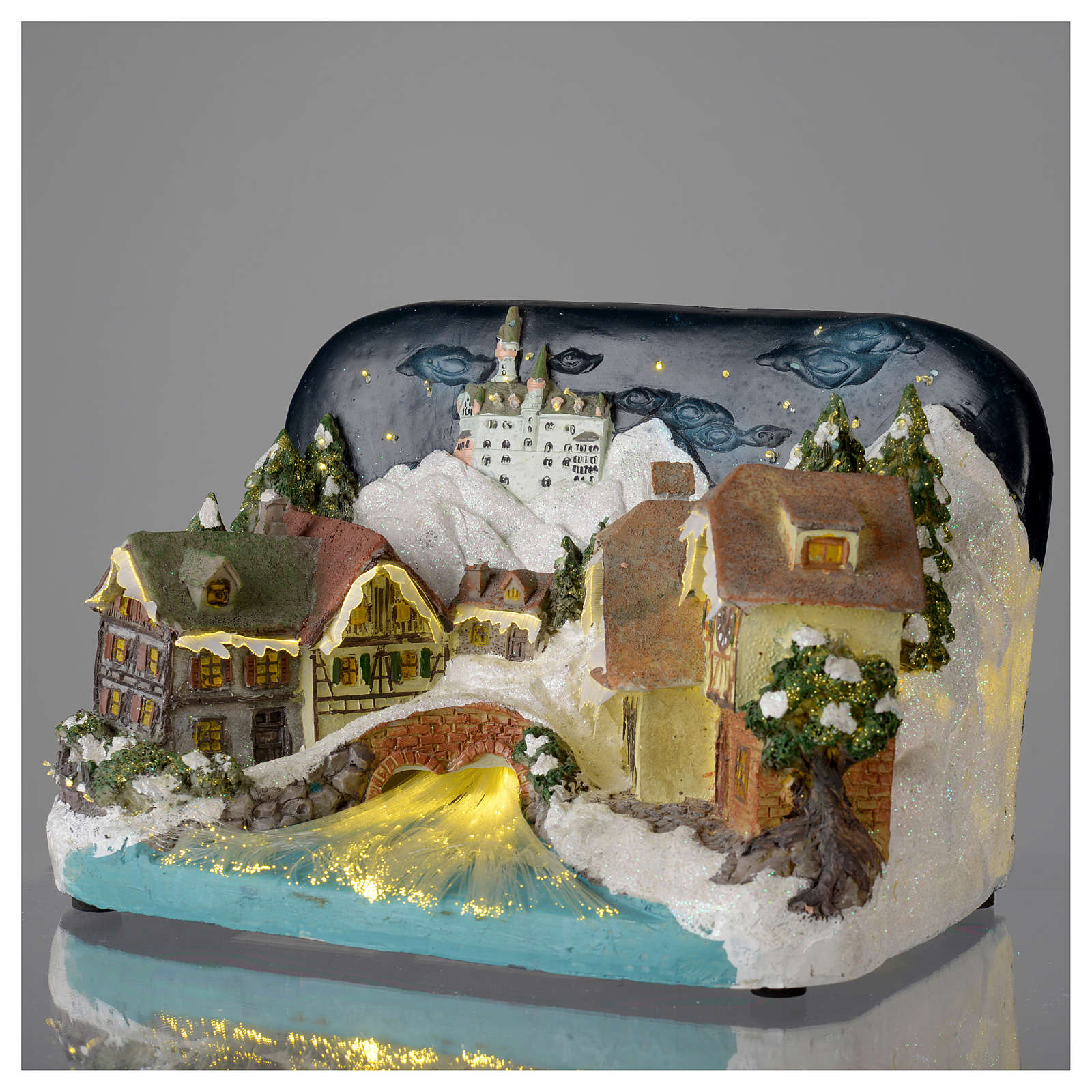 Paesaggio invernale castello e fiume 30x20x20 cm 3