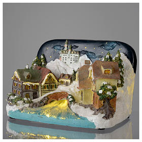 Paesaggio invernale castello e fiume 30x20x20 cm s3