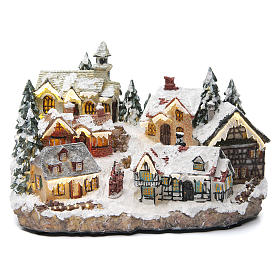 Winter village with church 30x20x20 cm s1