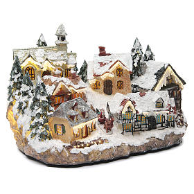 Winter village with church 30x20x20 cm s3