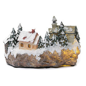 Winter village with church 30x20x20 cm s4