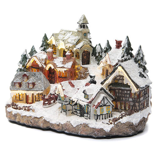 Winter village with church 30x20x20 cm 2