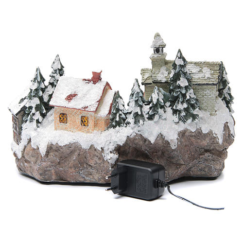 Villaggio natalizio con chiesa 30x20x20 cm 5