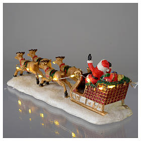 Slitta di Babbo Natale per villaggio 15x5x5 cm s5