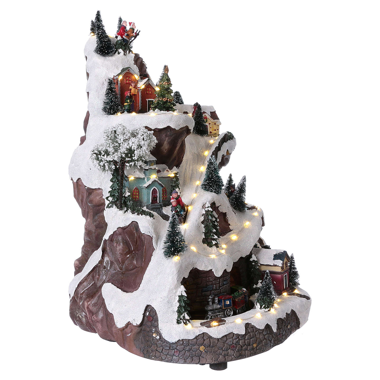 Animated village with mountain 45x30x25 cm 3