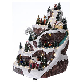 Animated village with mountain 45x30x25 cm s3