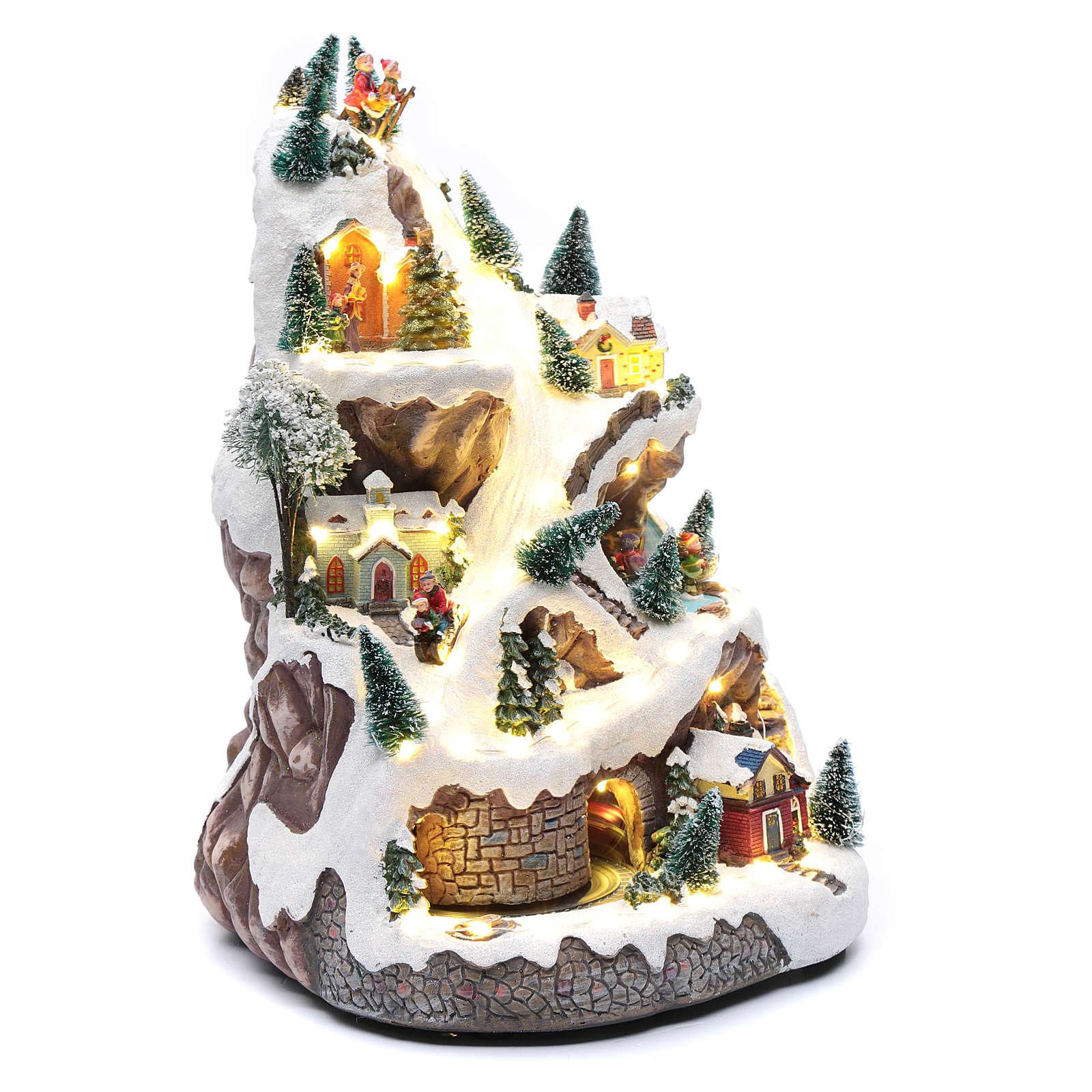 Paisaje navideño con montaña y movimiento 45x30x25 cm 3