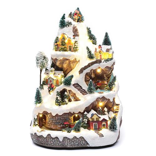 Paisaje navideño con montaña y movimiento 45x30x25 cm 1