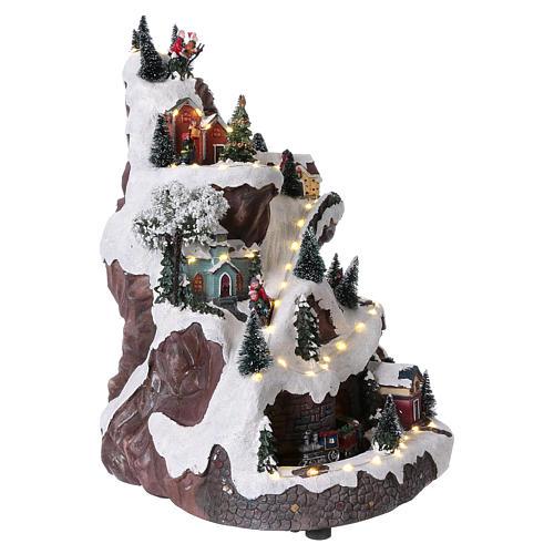 Paisaje navideño con montaña y movimiento 45x30x25 cm 4