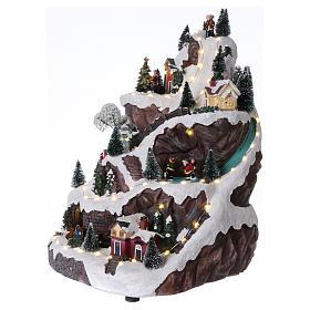 Village animé avec montagne 45x30x25 cm s3