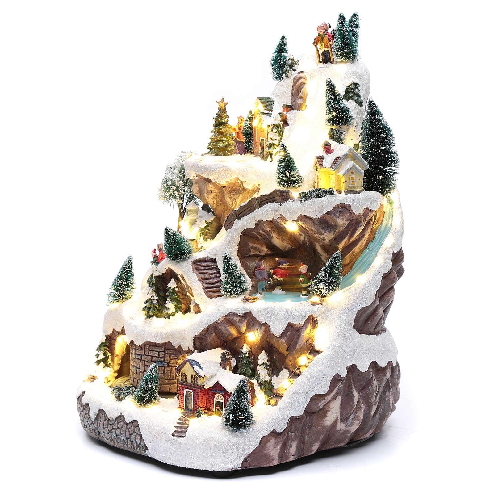 Villaggio animato con montagna 45x30x25 cm 3
