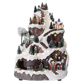 Animated village with mountain 45x30x25 cm s1